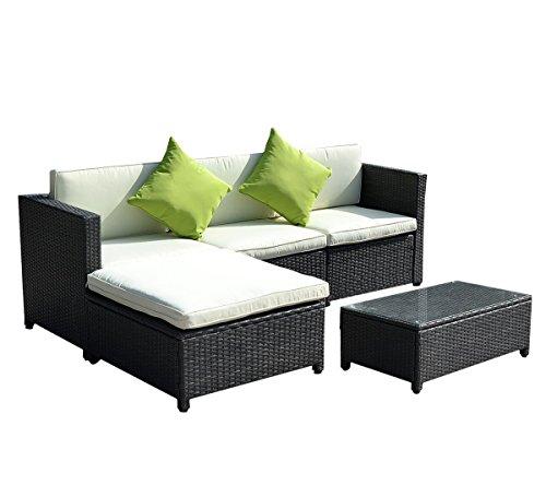 Goplus&reg 5pc Rattan Wicker Sofa Set Cushioned Sectional Outdoor Garden Patio Furniture Black