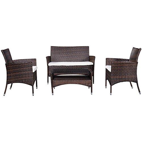 Tangkula Tangkula 4 Piece Outdoor Patio PE Rattan Wicker Table Shelf Sofa Furniture Set With Cushion