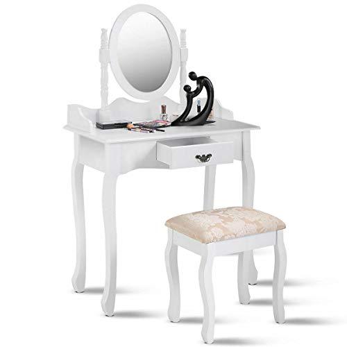 NEW Patio Garden Furniture Wood Makeup Dressing Table Vanity Stool Set Jewelry Desk WDrawerMirror White