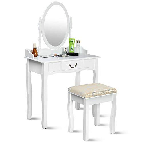 Patio Garden Furniture Vanity Table Jewelry Makeup Desk Bench Dresser wStool Drawer White