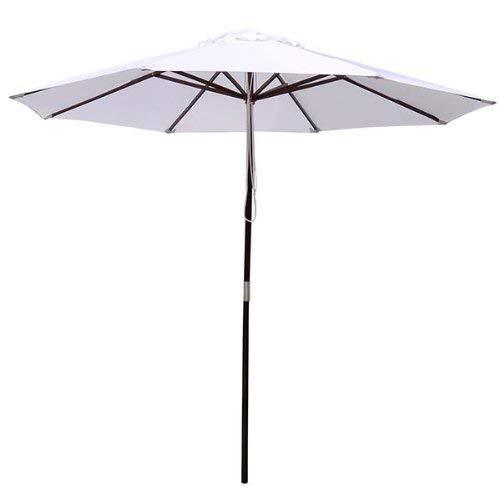 KOVAL INC 9 Foot White Patio Furniture Wood Market Umbrella