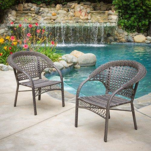 Malibu Outdoor Grey Wicker Dining Chair Set of 2