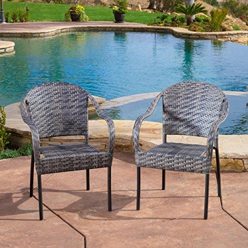 Set of 2 Outdoor Grey Wicker Dining Armchairs