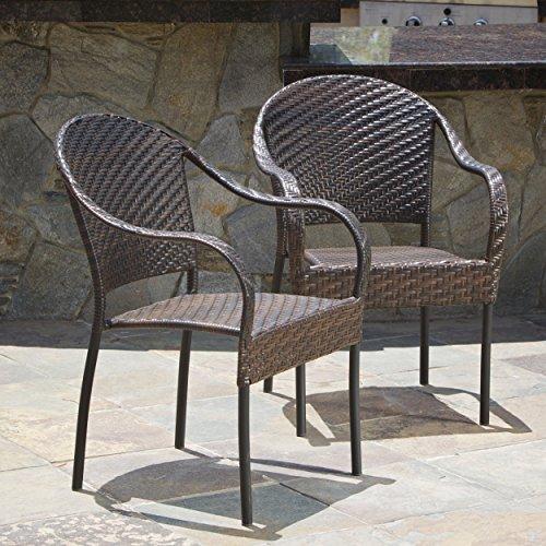 Set of 2 Outdoor Stackable Wicker Dining Armchairs