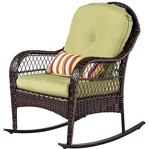 Sundale Outdoor Wicker Rocking Chair Rattan Outdoor Patio Yard Furniture All- Weather With Cushions