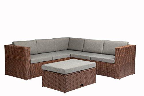 Baner Garden k35-br 4  Pieces Outdoor Furniture Complete Patio Cushion Wicker Rattan Garden Corner Sofa Couch