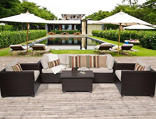 TK Classics BELLE-06b 6 Piece Belle-06B Outdoor Wicker Patio Furniture Set Wheat