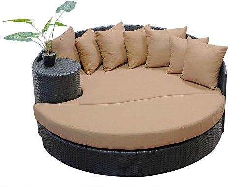 TK Classics NEWPORT Newport Circular Sun Bed-Outdoor Wicker Patio Furniture Wheat