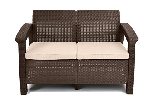 Keter Corfu Love Seat All Weather Outdoor Patio Garden Furniture W Cushions Brown