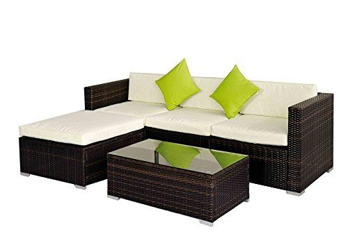 Outdoor Rattan Set 5 Pcs Sofa Wicker Sectional Garden Patio Furniture Broyerk