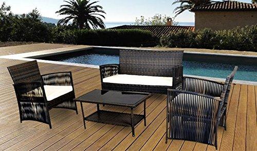 IDS Home Patio Dining 4 PCS Garden Outdoor Lawn Sofa Balcony Furniture Set Compact Rattan Wicker Brown Cushion Seat