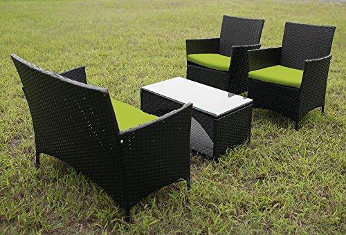 Merax 4 PCS Cushioned Outdoor PE Wicker Patio Set Garden Lawn Rattan Sofa Furniture Conversation Set Green