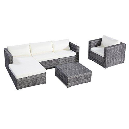 Tangkula 6pc Furniture Set Aluminum Patio Sofa Pe Gray Rattan Couch 2 Set Cushion Covers