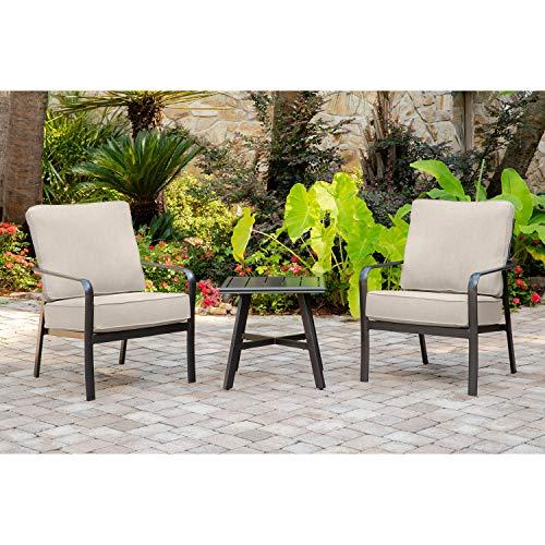 Hanover CORT3PC-ASH Cortino 3-Piece Grade Patio Seating Set Commercial Outdoor Furniture Cast AshGunmetal
