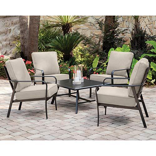 Hanover CORT5PCCT-ASH Cortino 5-Piece Grade Patio Seating Set Commercial Outdoor Furniture Cast AshGunmetal