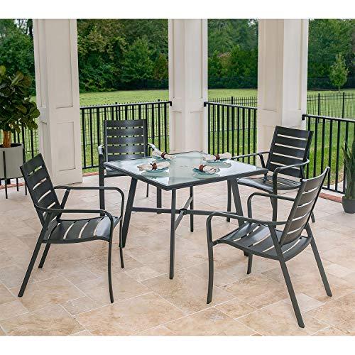 Hanover CORTDN5PCG Cortino 5-Piece Grade Patio Dining Set Commercial Outdoor Furniture Gunmetal
