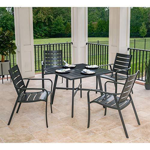 Hanover CORTDN5PCS Cortino 5-Piece Grade Patio Dining Set Commercial Outdoor Furniture Gunmetal