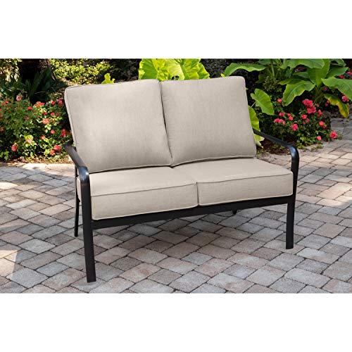 Hanover Cortino Grade Aluminum Loveseat with Plush Sunbrella Cushions CORTLVST-GMASH Commercial Outdoor Furniture GunmetalAsh