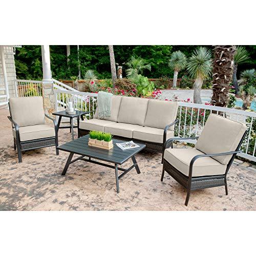 Hanover OAKMONT5PCS-ASH Oakmont 5-Piece Grade Patio Set Commercial Outdoor Furniture Cast AshGunmetal