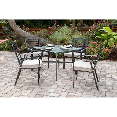 Hanover PEMDN5PCG-ASH Pemberton 5-Piece Grade Patio Set Commercial Outdoor Furniture Cast AshGunmetal