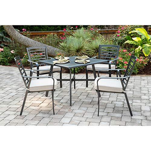Hanover PEMDN5PCS-ASH Pemberton 5-Piece Grade Patio Set Commercial Outdoor Furniture Cast AshGunmetal