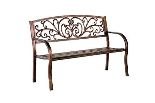 Plowamp Hearth Blooming Patio Garden Bench Park Yard Outdoor Furniture Iron Metal Frame Elegant Bronze Finish