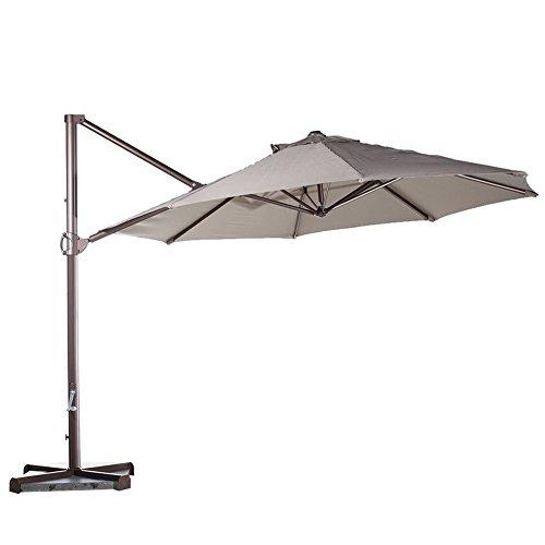 Abba Patio 11-feet Aluminum Offset Cantilever Umbrella With Cross Base Tan