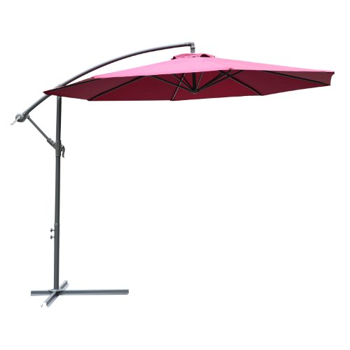 Outsunny 10&rsquo Steel Hanging Offset Patio Umbrella With Stand - Wine Red