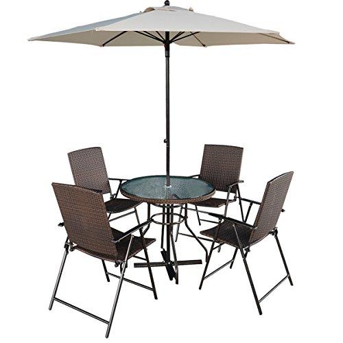 Tangkula 6 Pcs Patio Dining Set Furniture 4 Rattan Folding Chairs Table With Umbrella