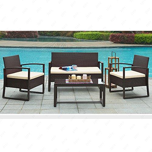 Urattan 4pc Wicker Patio Furniture Set Sofaamp Table Cushioned Lawn Garden Outdoor Brown