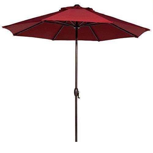 Abba Patio 9 Feet Patio Umbrella Market Outdoor Table Umbrella With Auto Tilt And Crank 8 Ribs Red