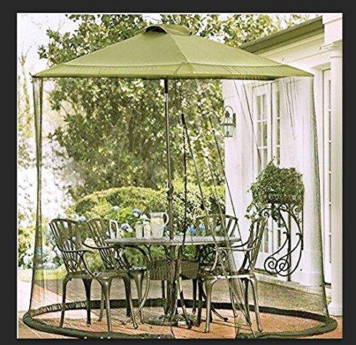 Agfbric Mosquito Net Canopy Patio Table Umbrella Outdoor Yard Garden Deck Gazebo Porch Military green 9ft Dia