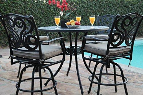 CBM Outdoor Patio Furniture 5 Piece Aluminum 48 Bar Table Set with 4 Swivel Bar Stool cbm1290