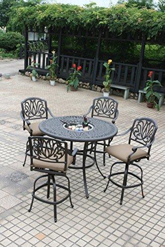 Cast Aluminum Outdoor Furniture Elisabeth 5pc Patio Bar Set with 52 Ice Bucket Insert Table - Desert Bronze