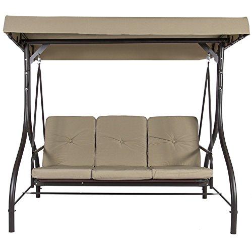 Belleze Converting Outdoor Swing Canopy Hammock Seats 3 Patio Deck Furniture Beige