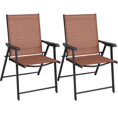 Goplus&reg 2 Outdoor Patio Folding Chairs Furniture Camping Deck Garden Pool Beach