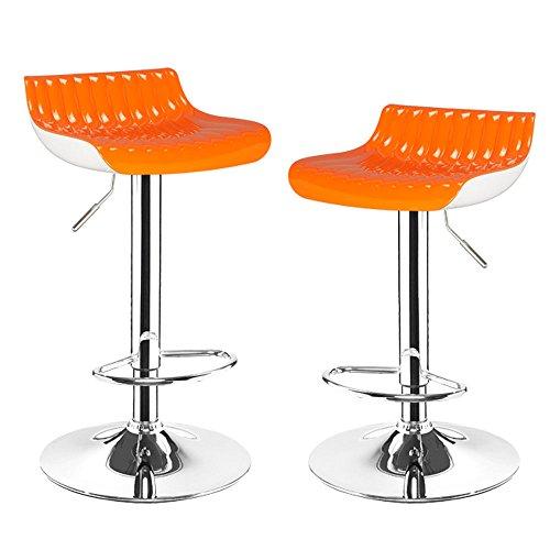 New Design Joveco Stylish Colorful Modern Swivel Adjustable Acrylic Bar Stool Indoor or Outdoor Set of 2 Orange