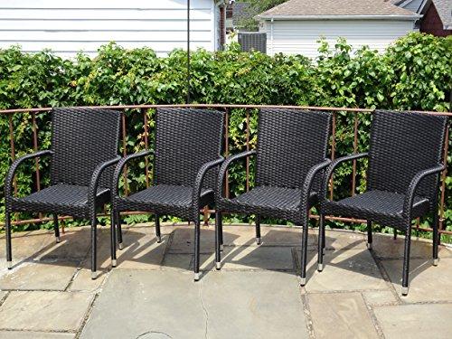 Patio Resin Outdoor Garden Deck Wicker Arm Chair Black Color set Of 4