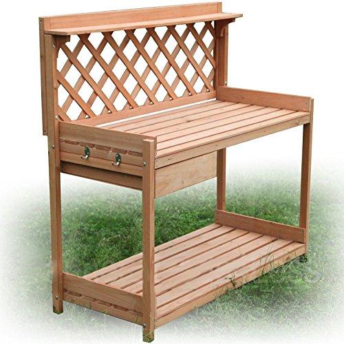 Kissemoji Wood Planter Potting Bench Outdoor Garden Planting Table Stand