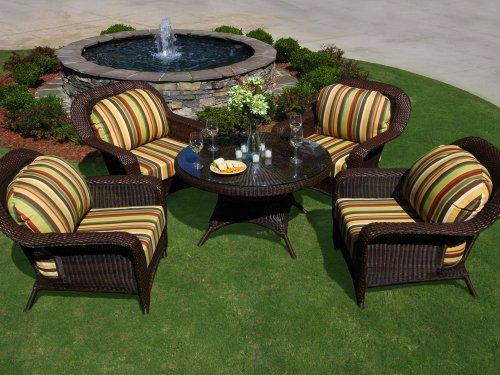 Tortuga Outdoor Garden Patio Lexington 5-Piece Conversation Table Set 4 club chairs 1 conv table - Java