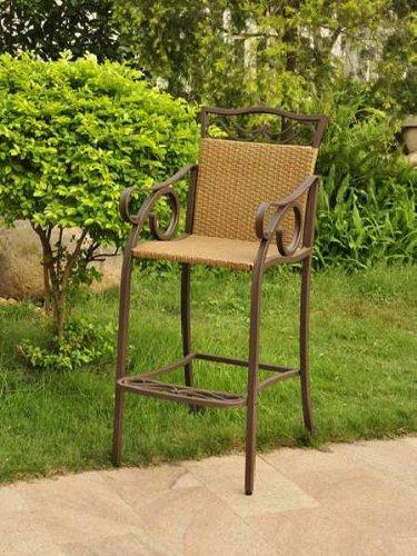 International Caravan Valencia Bar Height Wicker Resin Patio Chair - Set of 2
