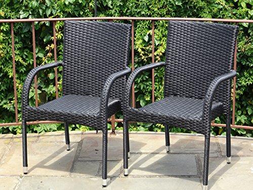 Patio Resin Outdoor Garden Deck Wicker Arm Chair Black Color Set of 2