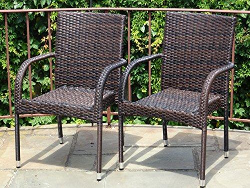 Patio Resin Outdoor Garden Deck Wicker Arm Chair Dark Brown Color Set of 2