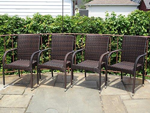 Patio Resin Outdoor Garden Deck Wicker Arm Chair Dark Brown Color Set of 4