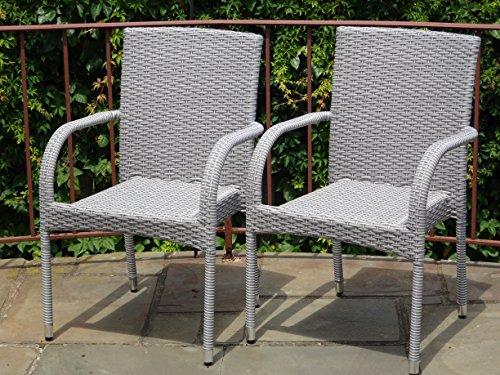 Patio Resin Outdoor Garden Deck Wicker Arm Chair Gray Color Set of 2