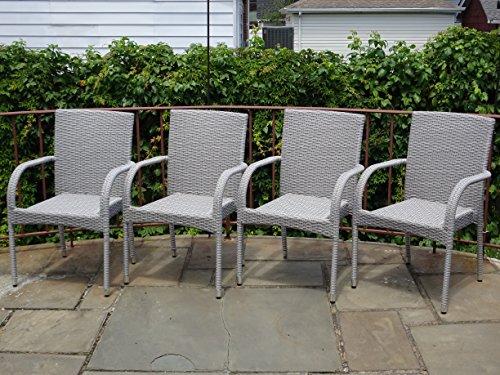 Patio Resin Outdoor Garden Deck Wicker Arm Chair Gray Color Set of 4
