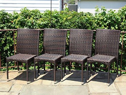Patio Resin Outdoor Garden Yard Deck Wicker Side Chair Dark Brown Color Set of 4