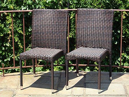 Patio Resin Outdoor Garden Yard Wicker Side Chair Dark Brown Color Set of 2