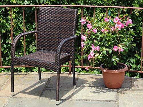 Patio Resin Outdoor Wicker Arm Chair Garden Sunroom Deck Balcony Furniture Dark Brown Color