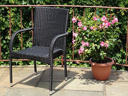 Patio Resin Outdoor Wicker Side Arm Chair Garden Sunroom Deck Balcony Furniture Black Color